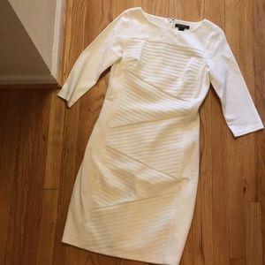 White House Black Market 3/4 sleeve cream dress